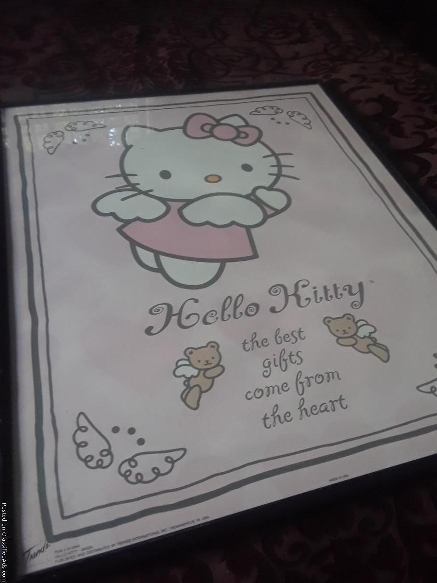 Photo Hello Kitty Angel Art Print with Black Frame