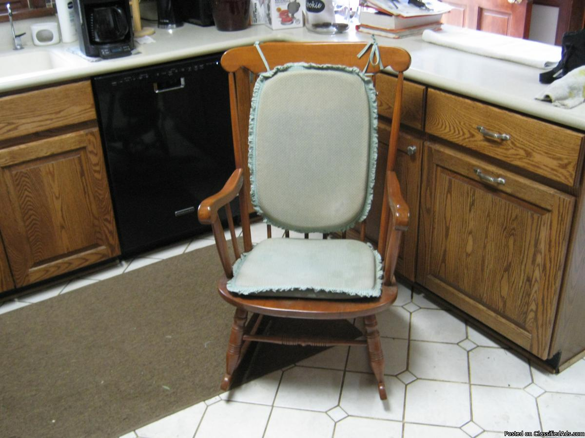 Photo Fully Restored - Hard Maple Rocking Chair with Pads