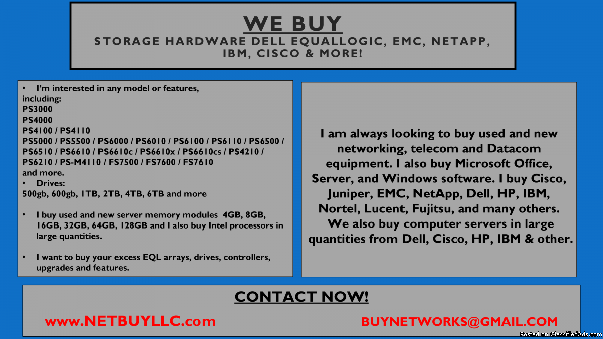 Photo WE ARE BUYING - WANTED WE BUY USED/NEW COMPUTER SERVERS, NETWORKING, MEMORY, DRIVES, CPU'S, RAM, DRIVE STORAGE ARRAYS, HARD DRIVES, SSD DRIVES,  INTEL & AMD PROCESSORS, DATA COM, TELECOM, IP PHONES & LOTS MORE - CISCO, EMC, NETAPP, INTEL, BROCADE, JUNIP