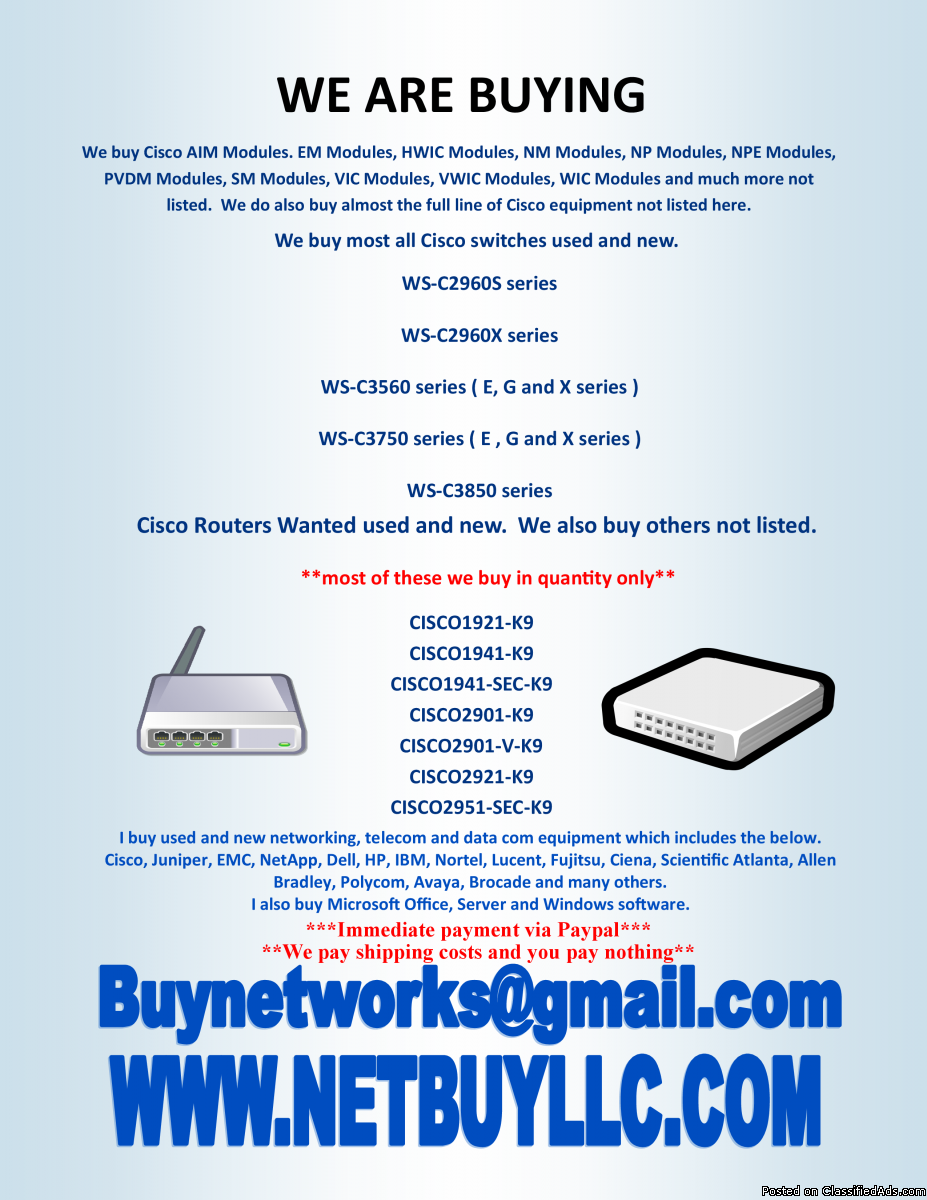 Photo $$$$$ WE BUY $$$$$ WANTED TO BUY WE BUY USED AND NEW COMPUTER MEMORY/RAM, CPU'S/NETWORKING/DRIVES CISCO, INTEL, EMC &MORE   WE BUY COMPUTER SERVERS, NETWORKING, MEMORY, DRIVES, CPU'S, RAM & MORE DRIVE STORAGE ARRAYS, HARD DRIVES, SSD DRIVES,  INTEL &