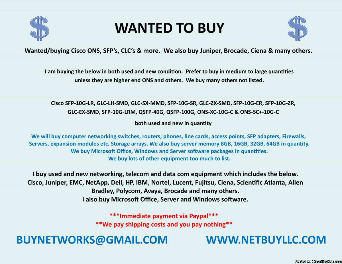 Photo -$$  WANTED - WE ARE BUYING > WE BUY USED AND NEW COMPUTER SERVERS, NETWORKING, MEMORY, DRIVES, CPU'S, RAM & MORE DRIVE STORAGE ARRAYS, HARD DRIVES, SSD DRIVES,  INTEL & AMD PROCESSORS, DATA COM, TELECOM, IP PHONES & LOTS MORE - CISCO, EMC, NETAPP, INTE