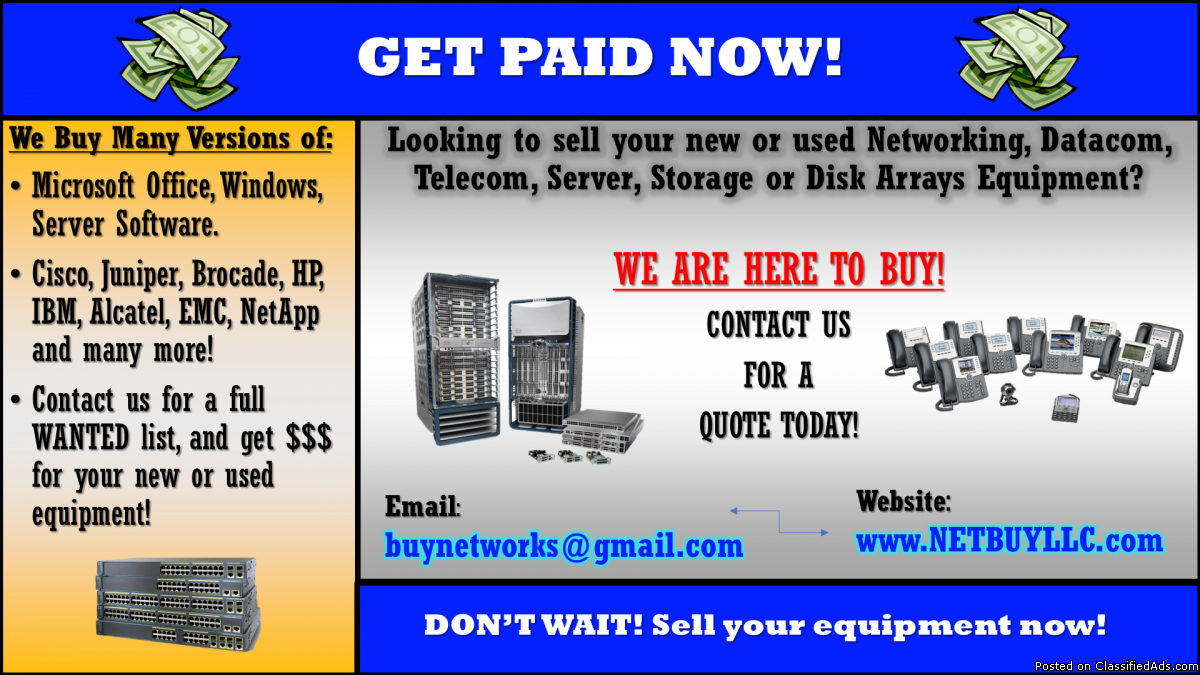 Photo We buy used & new CISCO, EMC, NETAPP, BROCADE, JUNIPER, CIENA, CALIX, INTEL,  SCIENTIFIC ATLANTA, ALLEN BRADLEY, NORTEL, IBM, HP, ALCATEL, AVAYA, POLYCOM, FUJITSU, DELL, INFINERA & LOTS MORE!     We BUY from all over the USA, Canada and most of the world.