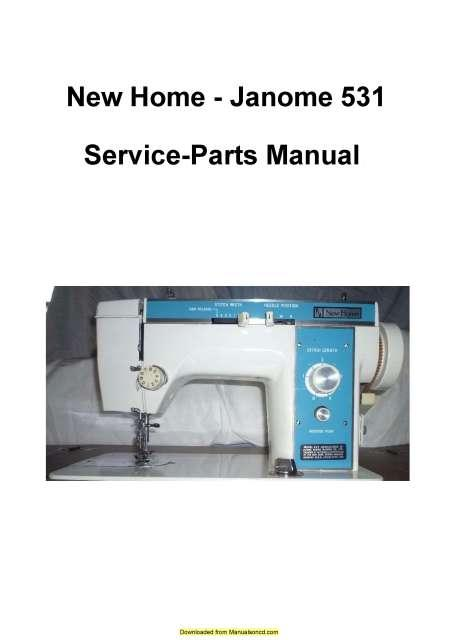 Photo New Home – Janome 531 Sewing Machine Service-Parts Manual