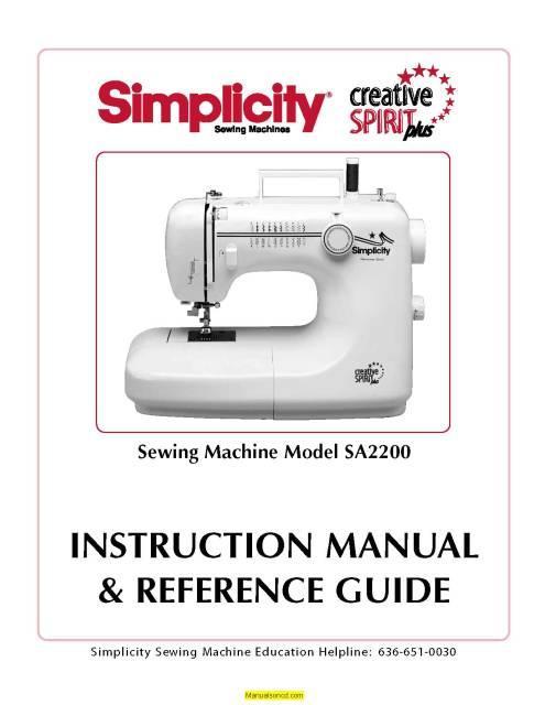 Photo Simplicity SA2200 Sewing Machine Instruction Manual