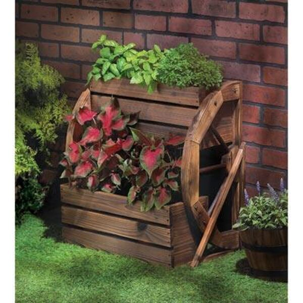 Photo Wagon Wheel Double Tier Planter