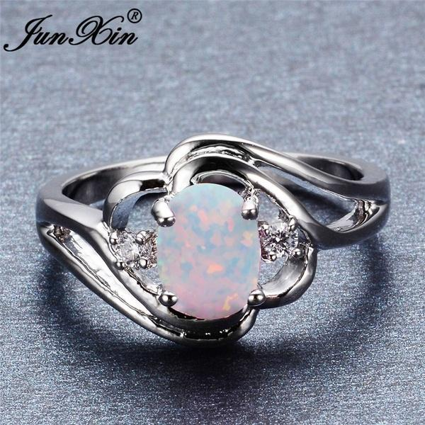 Photo Exquisite Women's 925 Sterling Silver Oval Cut White Fire Opal Ring