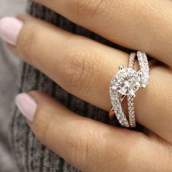 Photo Exquisite 925 Sterling Silver Ring Two Tone 14K Solid Rose Gold Round White Sapphire Ring