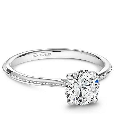 Photo Noam Carver White Gold Engagement Ring With Round Centerpiece