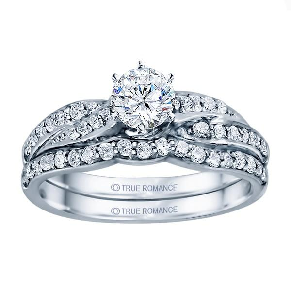 Photo 14k White Gold Infinity Engagement Ring - SKU: RM1145-D