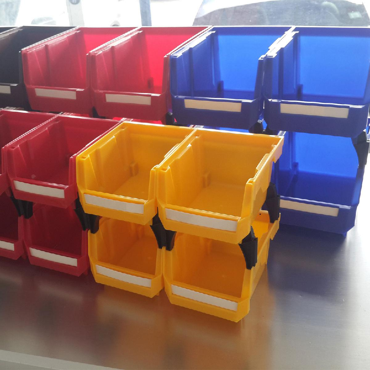 Photo 21 Pcs Storage Bins For Tools and Accessories With Riser Stands and Labels