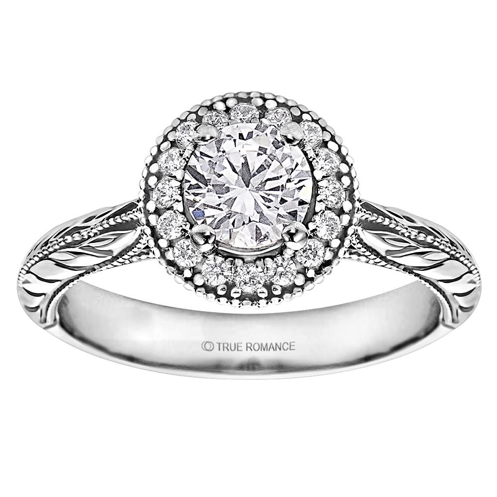 Photo Round Cut Halo Diamond Vintage Engagement Ring - SKU: RM1503RTT