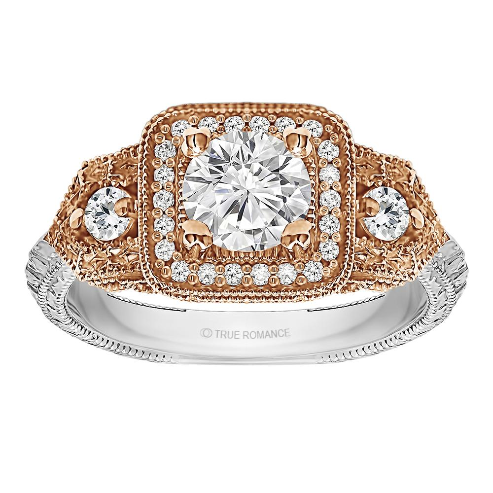 Photo Round Cut Halo Diamond Vintage Engagement Ring - RM1539RTT