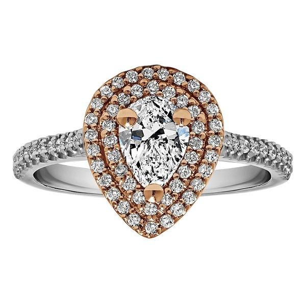 Photo Pear Shape Halo Diamond Vintage Engagement Ring Sku: Rm1394pstt/G7