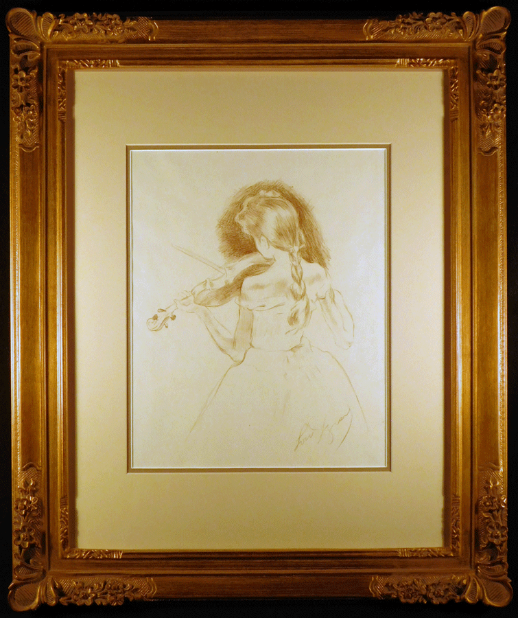 Photo Little Girl Practicing Original Lithograph by Louis Legrand