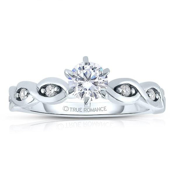 Photo 14k White Gold Round Cut Diamond Infinity Engagement Ring