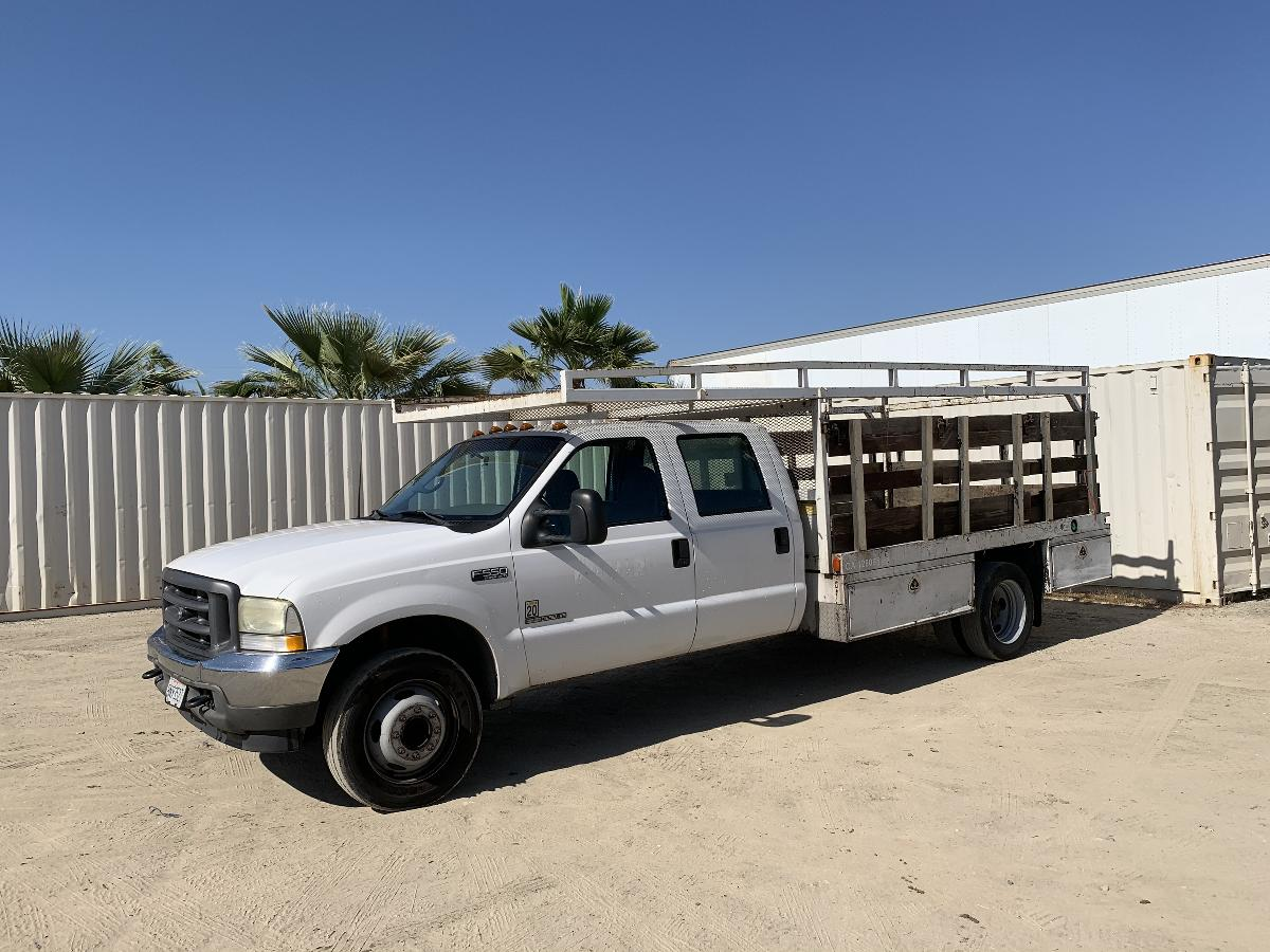 Photo 2002 FORD F550 CREW CAB FLATBED TRUCK #14102202